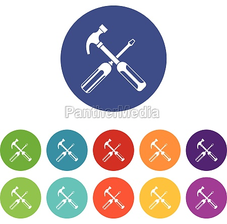 hammer and screwdriver set icons