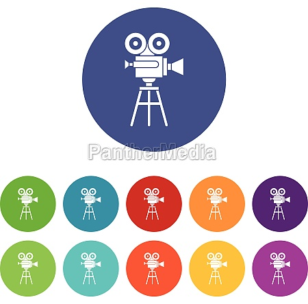 retro film projector set icons