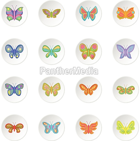 butterfly fairy icons set