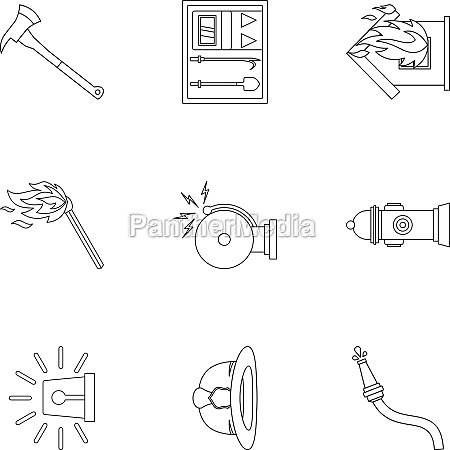 fiery profession icons set outline style