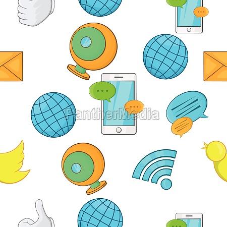 communication over internet pattern cartoon style