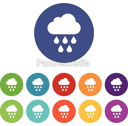 cloud with rain drops set icons