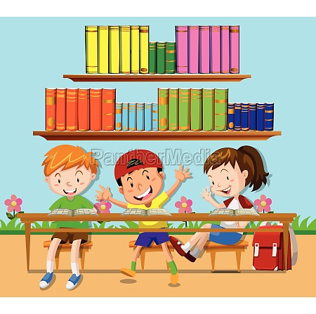 three students leaning in classroom