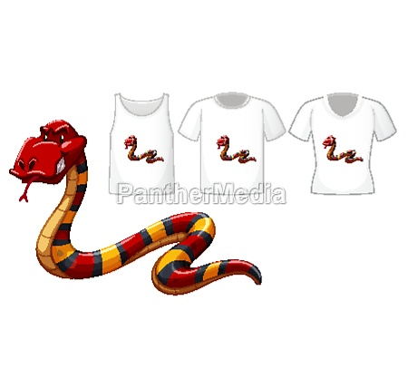 red snake cartoon character with many