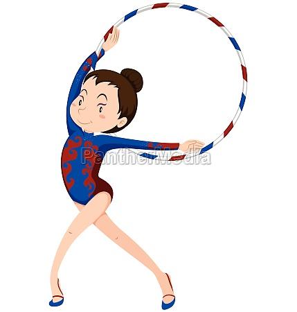 female athlete doing gymnastics with hoop