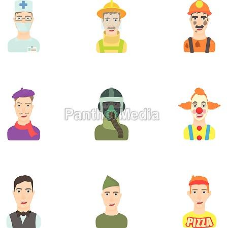 profession icons set cartoon style