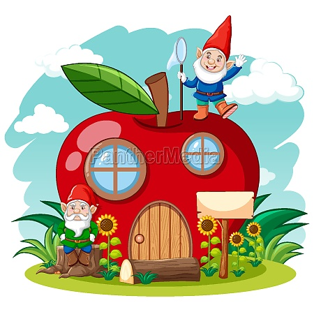 gnomes and red apple house cartoon