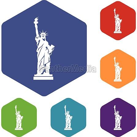 statue of liberty icons set