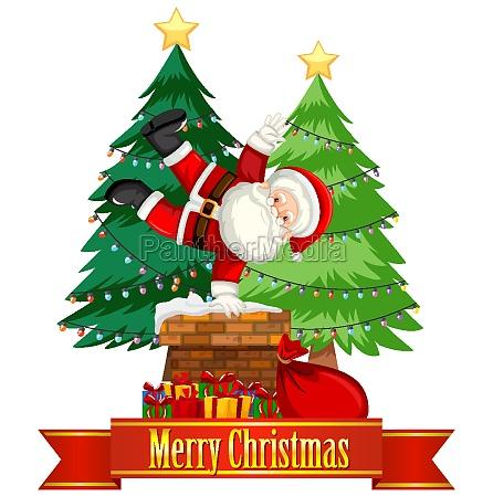 christmas theme with santa on chimney