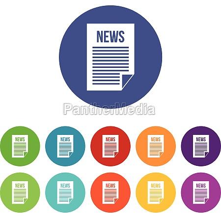 news newspaper set icons