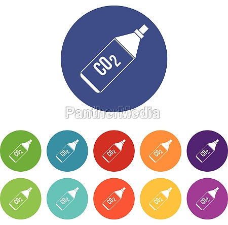co2 bottle set icons