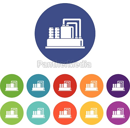 equipment for production oil set icons