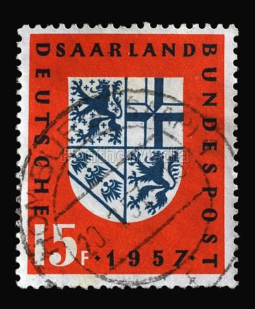 stamp printed in saar germany shows