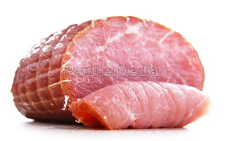 piece of smoked ham isolated on