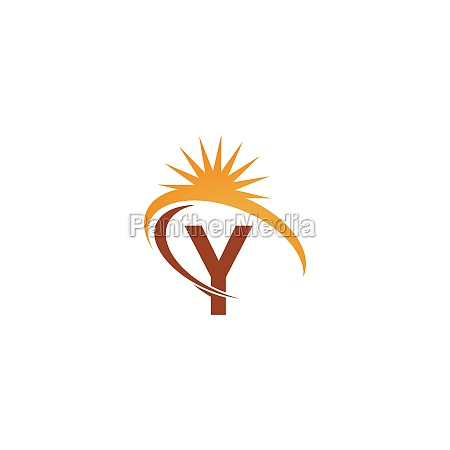 letter y with sun ray icon