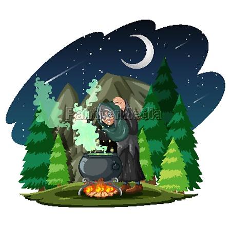 witch with black magic pot cartoon