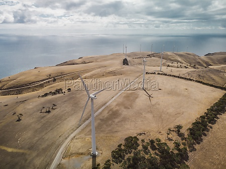 aerial view of wind turbines on