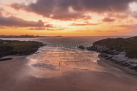 aerial view of porth beach at