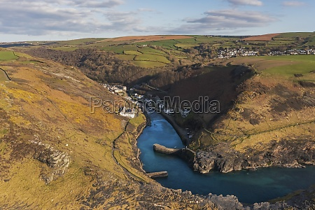 aerial view of wild coastline near
