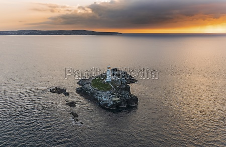 aerial view of godrevy lighthouse at