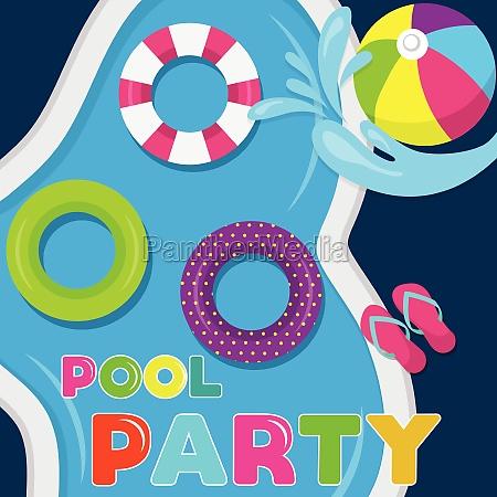 joyfull summer banner pool party