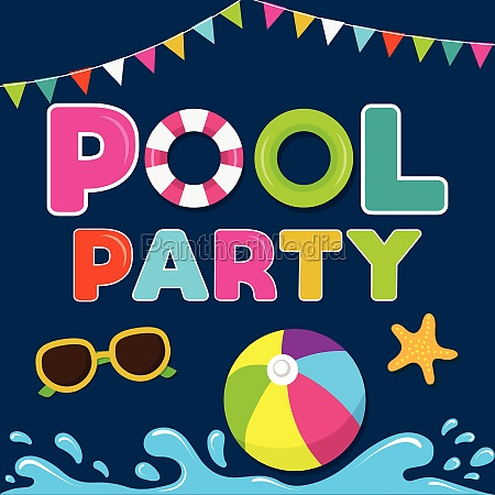 funny summer banner pool party