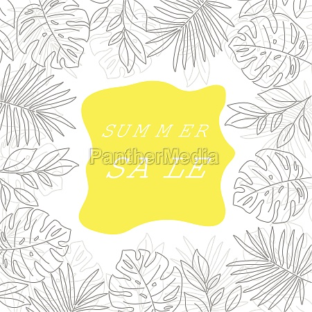 summer sale banner with tropical leaves