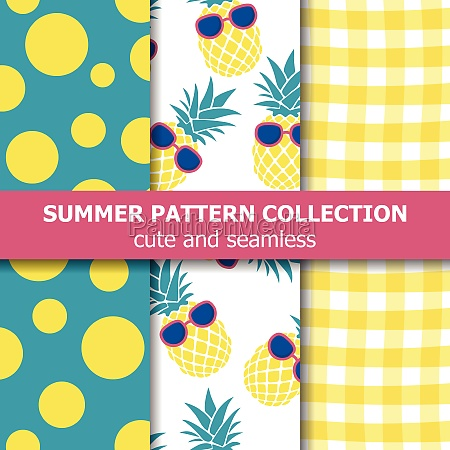 tropical summer pattern collection pineapple theme