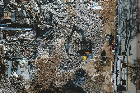 aerial view of old building demolition