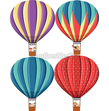 set of different hot air balloon