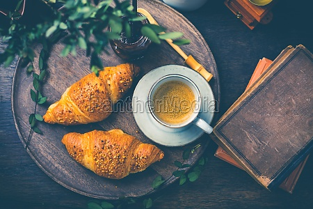 breakfast croissants with nuts and