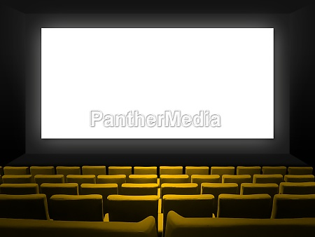 cinema movie theatre with yellow seats