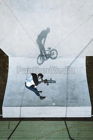 aerial view of bmx bike rider