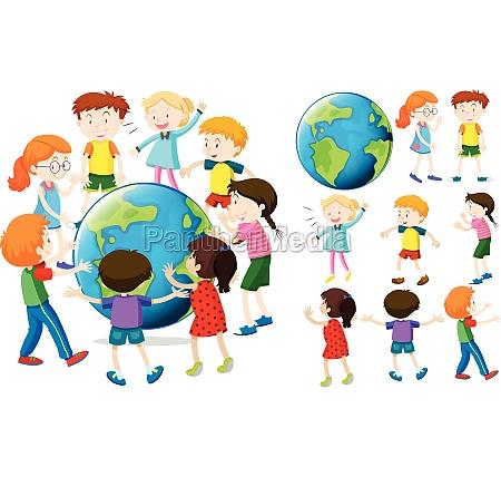 children around the earth