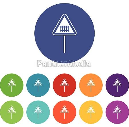warning road sign set icons