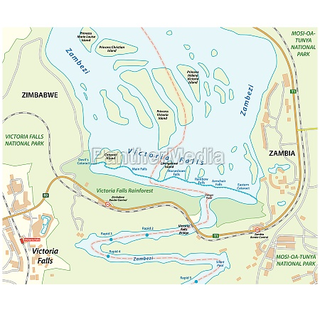 vector map of victoria falls on