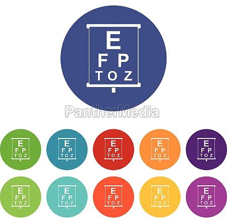 eyesight testing set icons