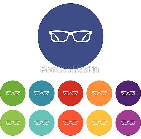 eye glasses set icons