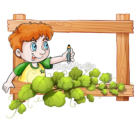 a frame with a boy holding
