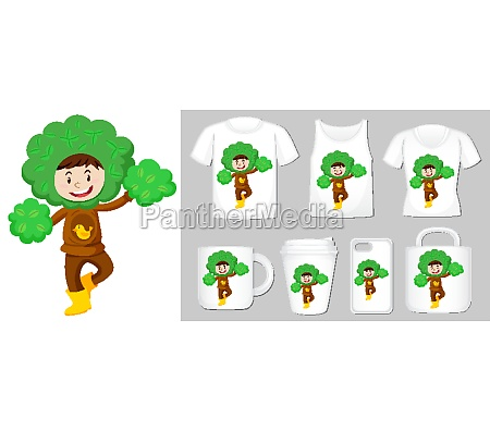 graphic of kid in tree costume