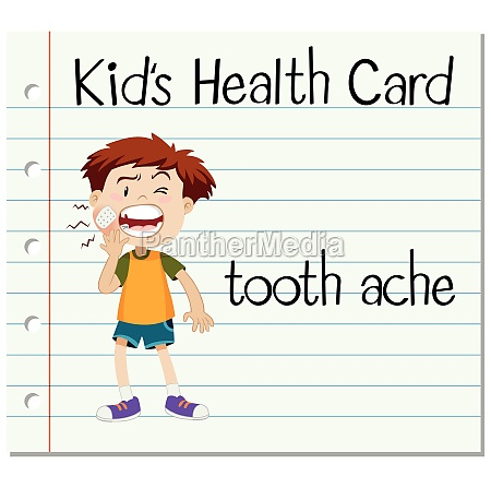 health card with boy having toothache