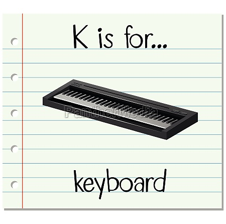 flashcard letter k is for keyboard