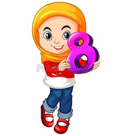 muslim girl wearing hijab holding math