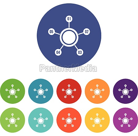 circle chart with numbers set icons