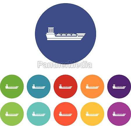 oil tanker ship set icons