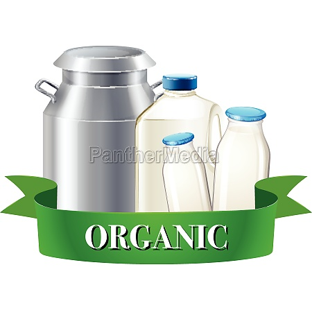 fresh organic milk in bottles