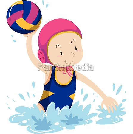 woman doing water polo in the