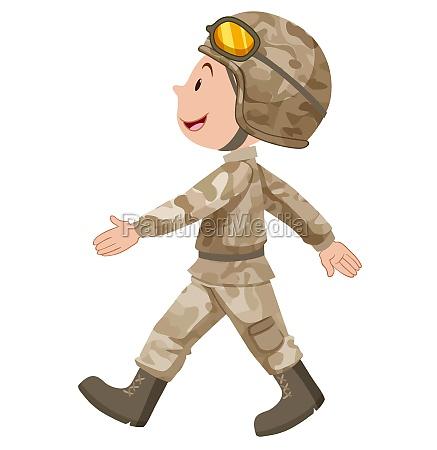 soldier in brown uniform walking