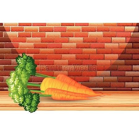 organic carrots with brick wall