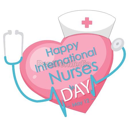happy international nurses day font with